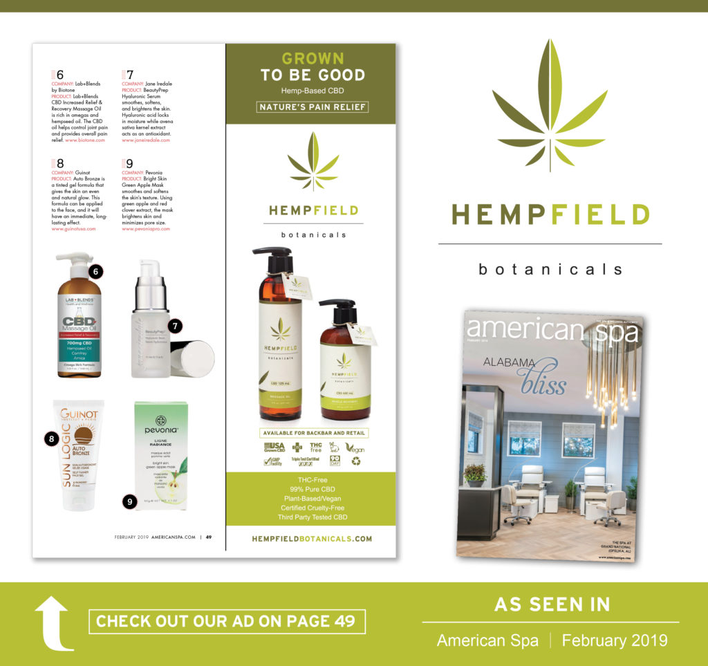 Hempfield Botanicals CBD | American Spa Magazine February 2019
