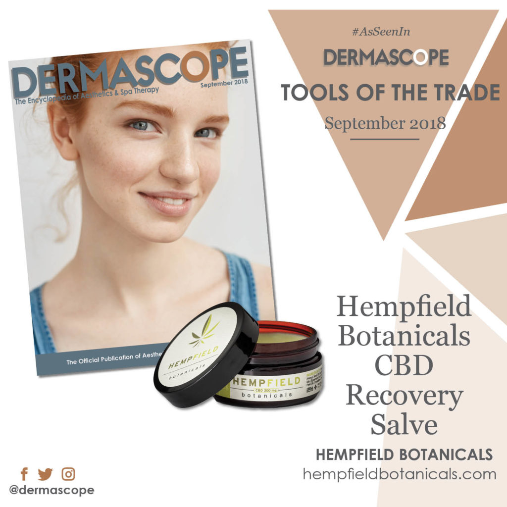 Hempfield Botanicals CBD | DERMASCOPE Magazine September 2018
