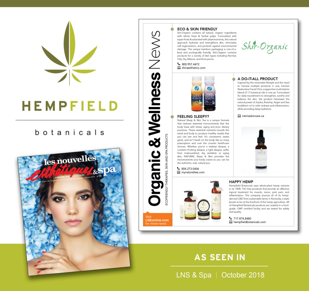 Hempfield Botanicals CBD | Les Nouvelles Esthétiques & Spa  October 2018