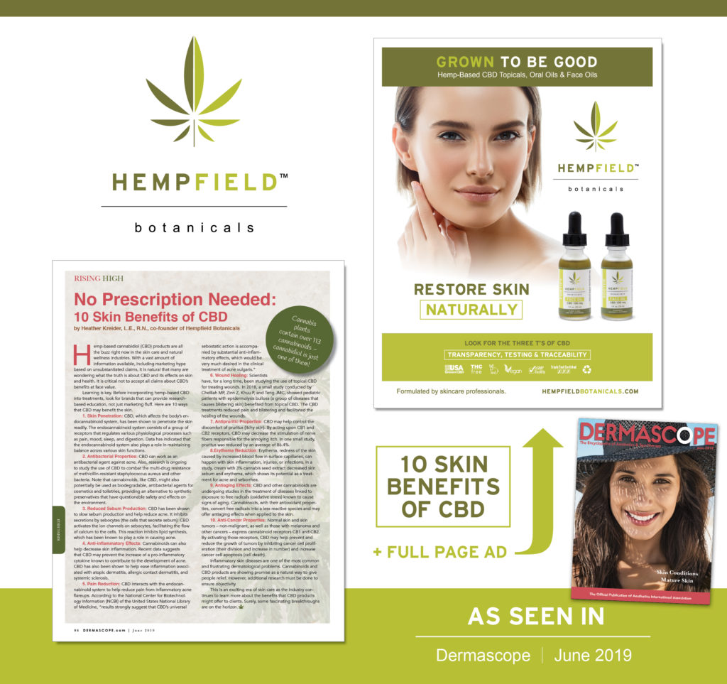 10 Skin Benefits of CBD | Hempfield Botanicals | DERMASCOPE Magazine June 2019