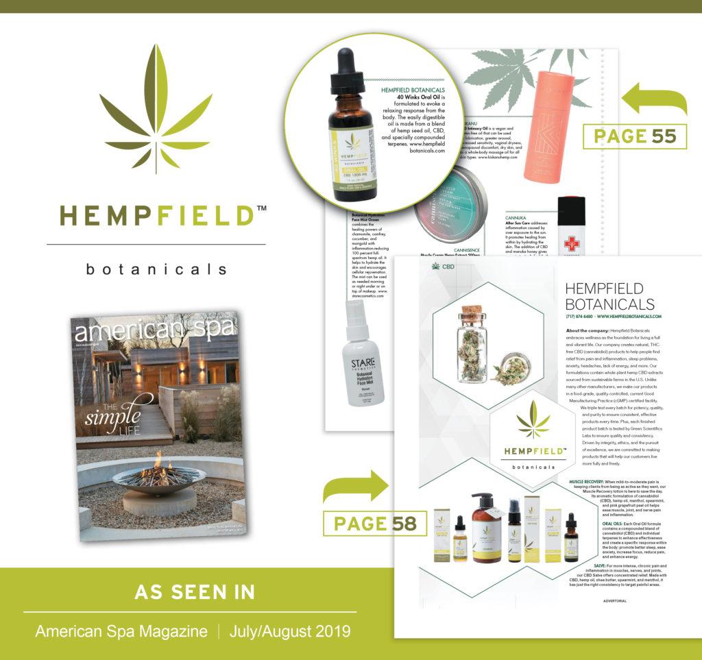Sweeping the Nation | CBD | American Spa Magazine | CBD Summit | Hempfield Botanicals