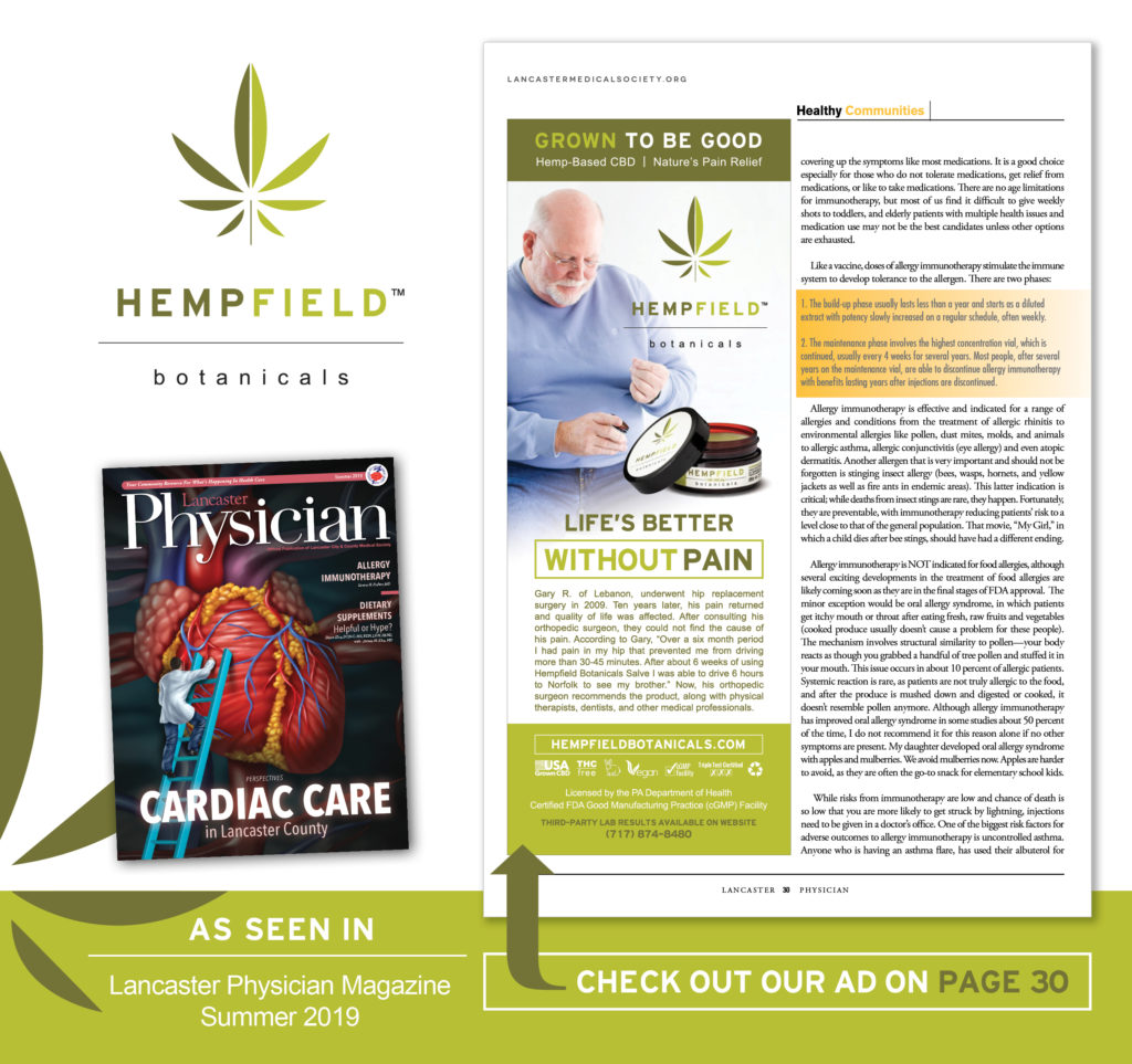 Life's Better Without Pain | CBD Supplements | Hempfield Botanicals | Lancaster Physician Magazine | Lancaster City & County Medical Society