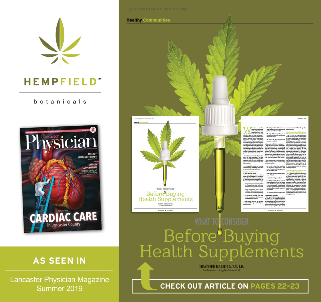 What To Consider Before Buying CBD Supplements | Hempfield Botanicals | Lancaster Physician Magazine | Lancaster City & County Medical Society