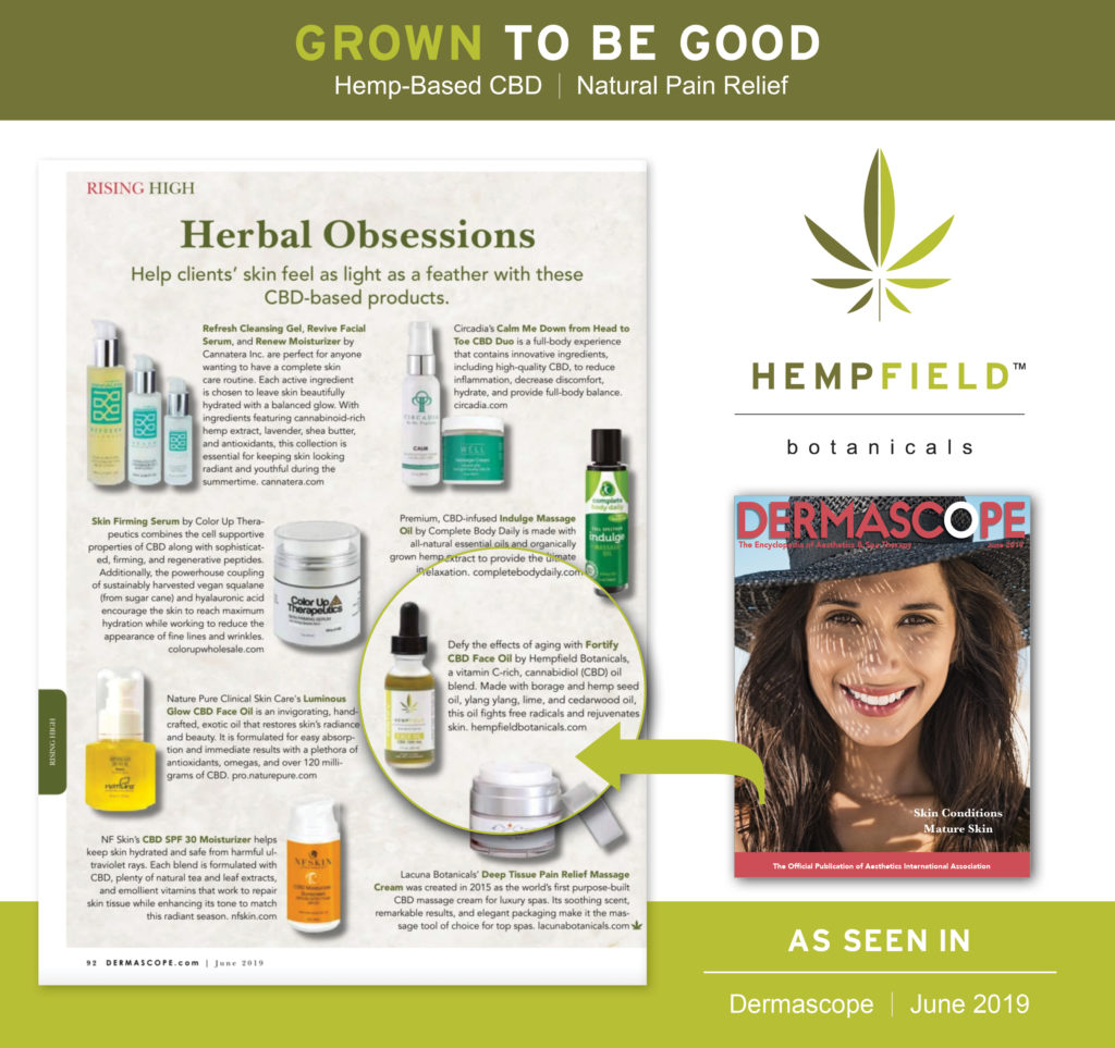 Herbal Obsessions CBD | Hempfield Botanicals | DERMASCOPE Magazine June 2019