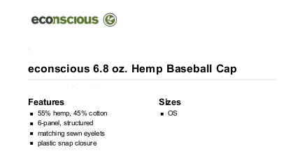econscious Hemp & Cotton Cap | Hempfield Botanicals