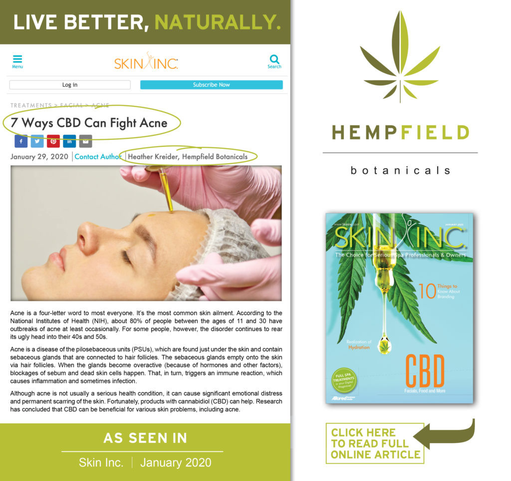 7 Ways CBD Can Fight Acne | Skin Inc Magazine | Hempfield Botanicals