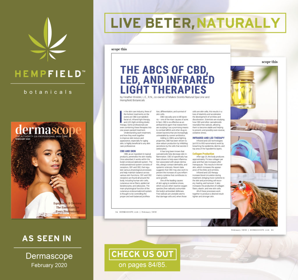 ABC's of CBD, LED, & Infrared Light Therapies | DERMASCOPE Magazine February 2020 | Hempfield Botanicals