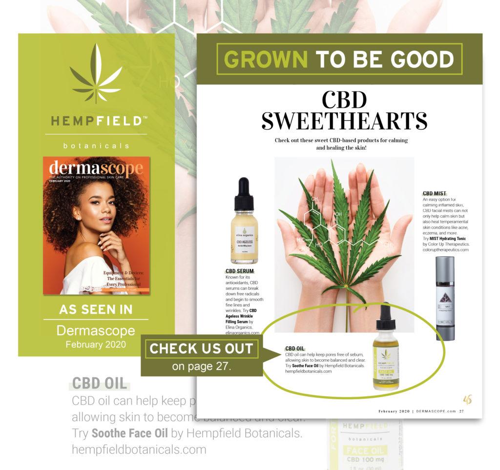 CBD Sweethearts | DERMASCOPE Magazine February 2020 | Hempfield Botanicals