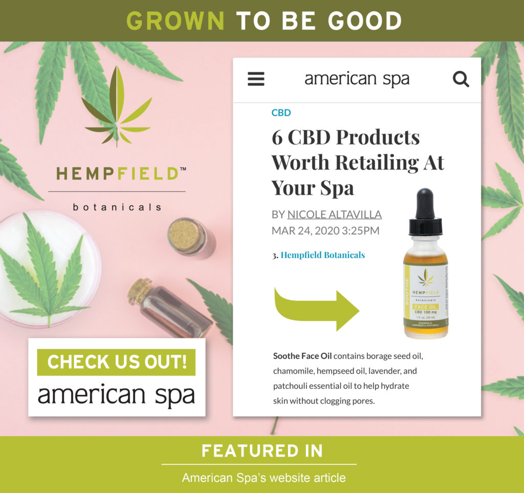 6 CBD Products Worth Retailing At Your Spa | American Spa Magazine | Hempfield Botanicals