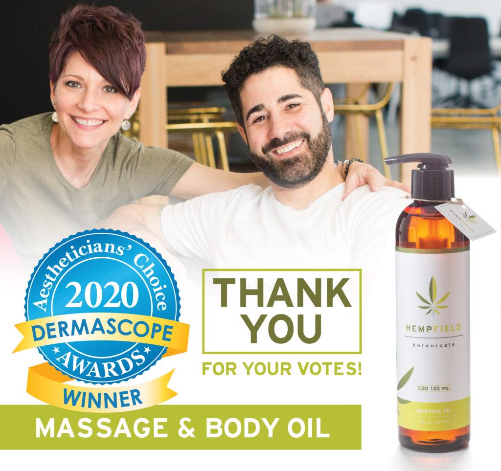 Aestheticians' Choice Awards | DERMASCOPE Magazine | Favorite CBD Oil | Hempfield Botanicals CBD Massage & Body Oil
