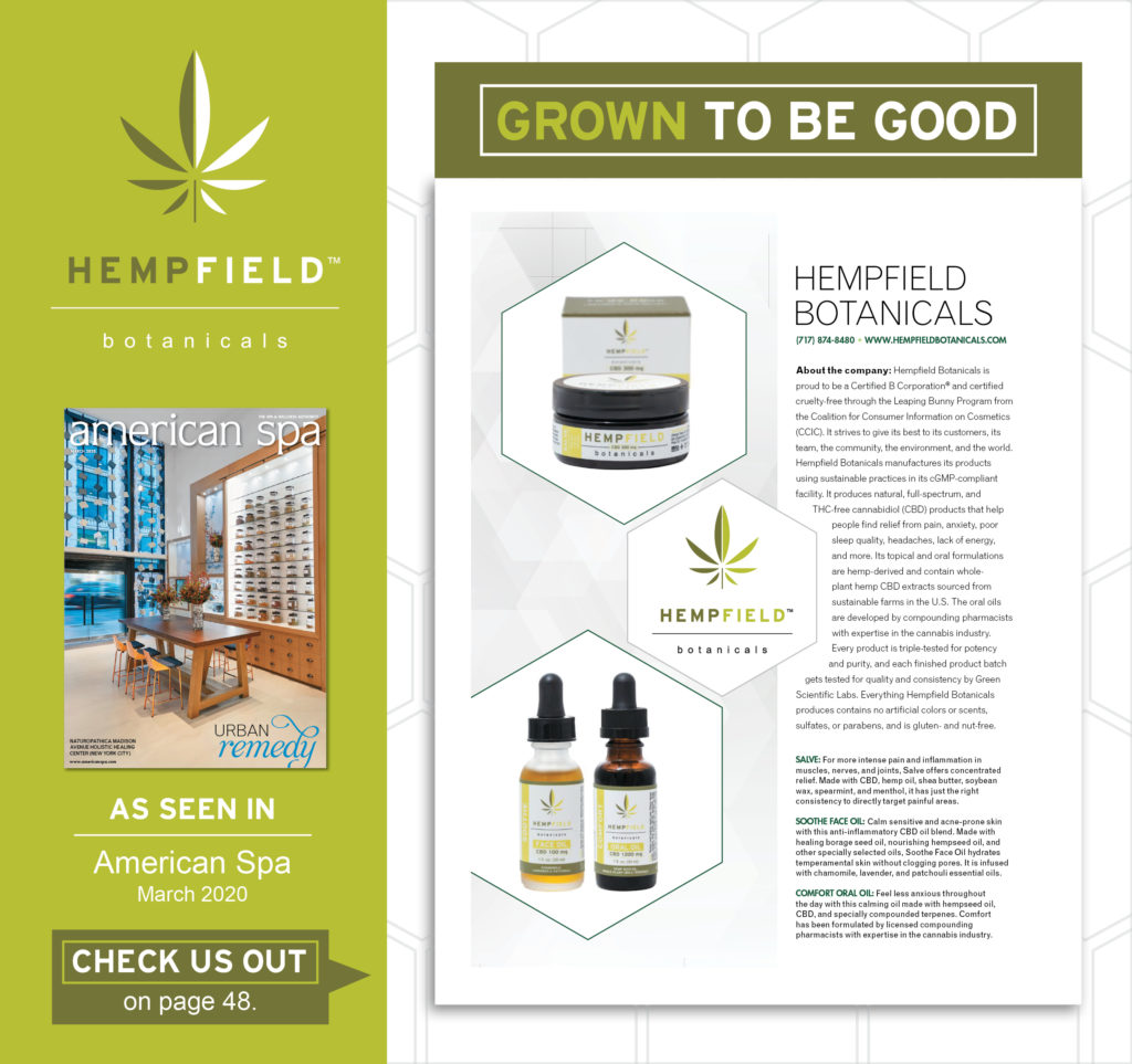 American Spa Magazine | CBD | Hempfield Botanicals