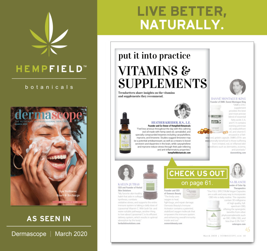 CBD Vitamins & Supplements | DERMASCOPE Magazine March 2020 | Hempfield Botanicals