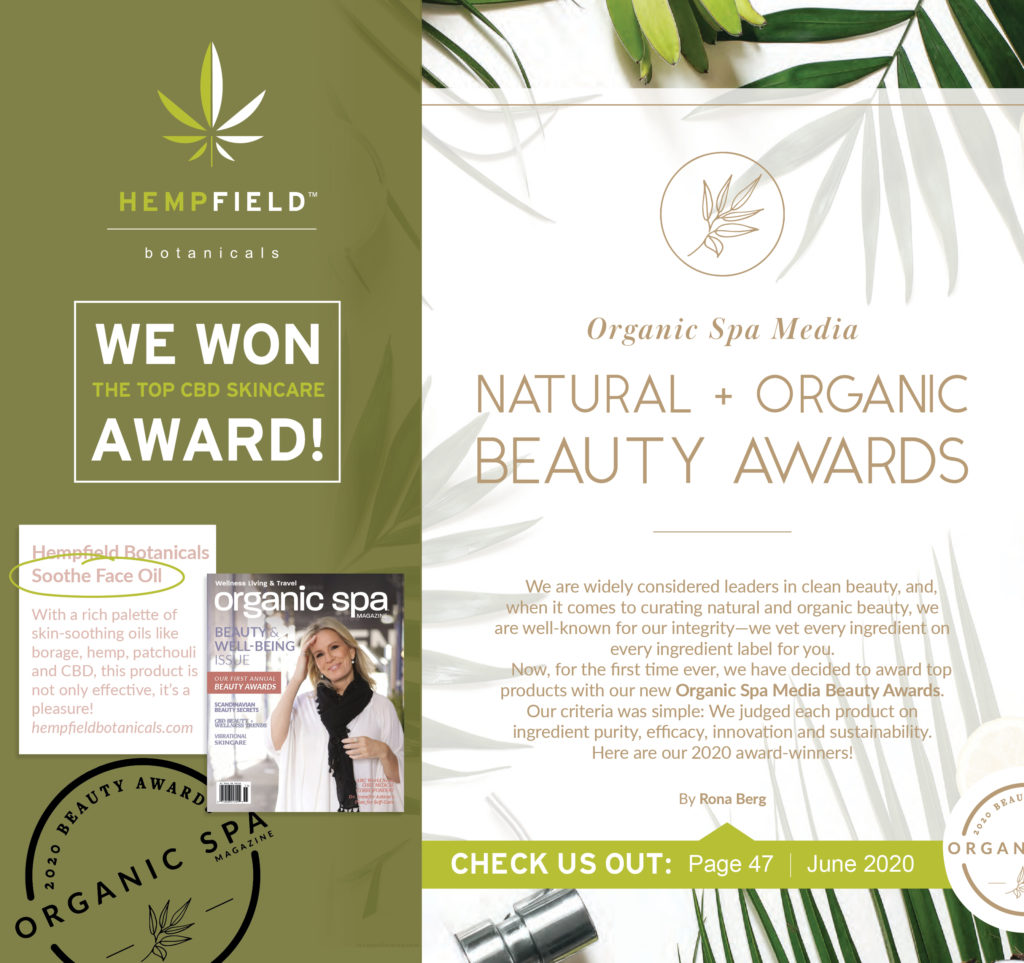 Organic Spa Magazine | 2020 Natural & Organic Beauty Awards Winner | Top CBD Skincare | Hempfield Botanicals