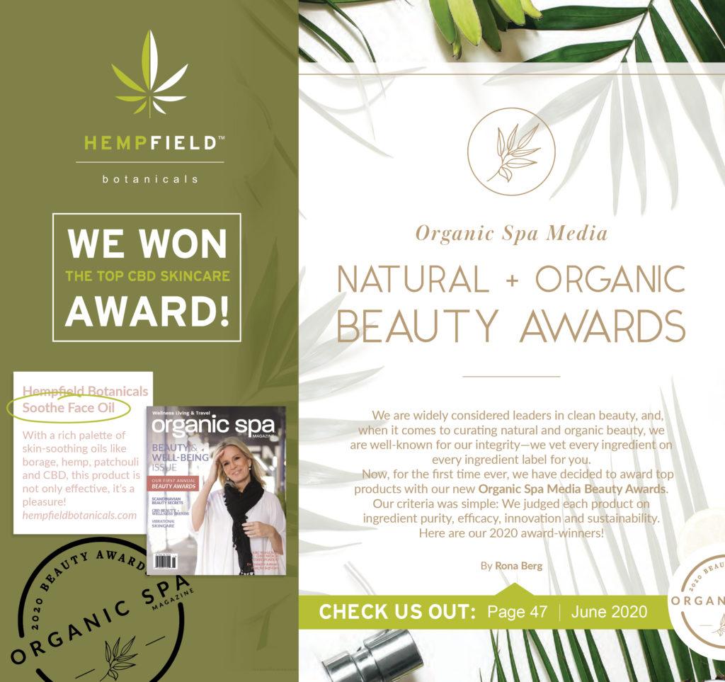 2020 Organic Spa Magazine Natural + Organic Beauty Awards Winner | Hempfield Botanicals | Soothe CBD Face Oil