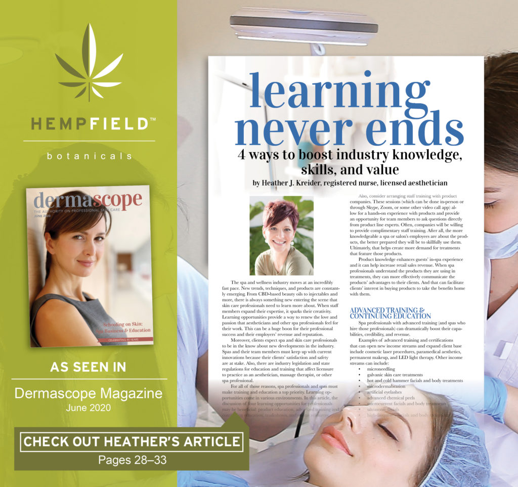 Learning Never Ends: 4 Ways to Boost Industry Knowledge, Skills and Value | DERMASCOPE Magazine | Hempfield Botanicals