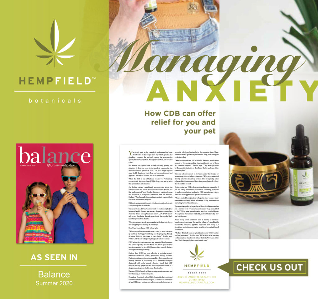 Managing Anxiety | How CBD Can Offer Relief For You And Your Pets | Hempfield Botanicals | Balance Magazine | Lancaster Newspaper
